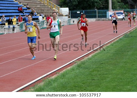 YALTA, UKRAINE - MAY 25:(L-R) Aleksandr Karpenko, Yan Sloma, Bekmezdzhi Suleiman, Kondrashov Artem on international athletic meet between UKRAINE, TURKEY and BELARUS on May 25, 2012 in Yalta, Ukraine.