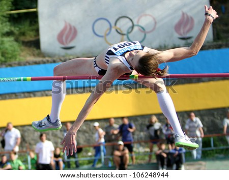 YALTA, UKRAINE, MAY 27: Olena Holosha wins the high jump competition with  Olympic standard - 1.95 on Ukrainian Cup in Athletics, on May 27, 2012 in Yalta, Ukraine.