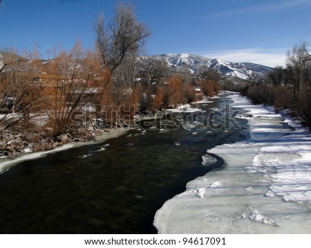 Yampa River with ice and cottonwoods in winter, Steamboat Springs, Colorado