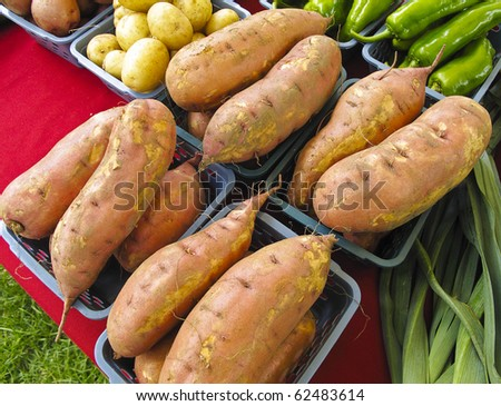 Yams, or Sweet Potatoes, for sale at outdoor farmers market