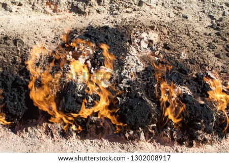 Yanar Dag meaning burning mountain is a natural gas fire which blazes continuously on a hillside near Baku, Azerbaijan