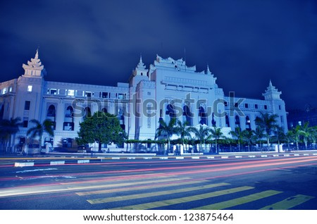 Yangon City Hall at night time