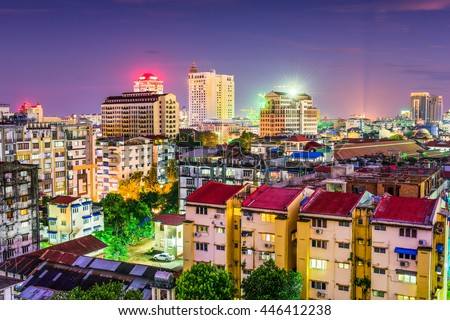 Yangon, Myanmar downtown business district skyline. stock photo
