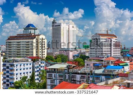 Yangon, Myanmar downtown skyline. stock photo