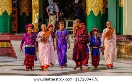 Yangon, Myanmar - Feb 26, 2016. People visit Shwedagon Paya Pagoda in Yangon, Myanmar. Shwedagon is the most sacred Buddhist pagoda in Myanmar. #1172894776
