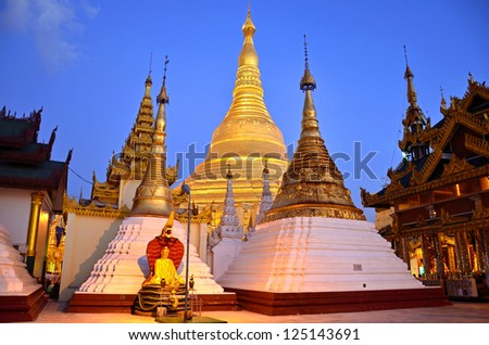 YANGON, MYANMAR � JANUARY 16: Shwedagon Pagoda on January 16, 2013 in Yangon, Myanmar. Shwedagon Pagoda is the most sacred Buddhist pagoda for the Burmese and golden pagoda is ninety nine meters high.