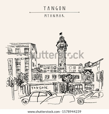 Yangon (Rangoon), Myanmar (Burma), Southeast Asia. The Central Fire Station on Sule Pagoda Road. Colonial architecture. Hand drawn cityscape sketch. Travel art. Vintage artistic postcard stock photo