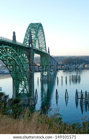 Yaquina Bay Bridge at sunrise in Newport, Oregon.