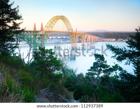 Yaquina Bay Bridge Sunset Located in the City of Newport, Oregon Northwest USA