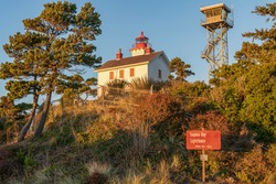 Yaquina bay lighthouse museum and tower in Newport Oregon.