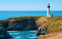 Yaquina Head Light House Seascape, Oregon State USA