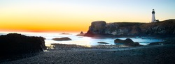 Yaquina head Light House Seascape Panorama Sunset, Oregon State USA