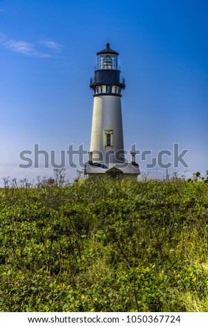 Yaquina Head Lighthouse, built in 1872, 93 feet tall on the Oregon coast.