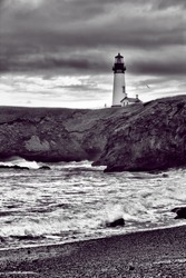 Yaquina lighthouse in B&W in Newport, Oregon.