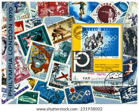 YAR - CIRCA 1970: A stamp printed in Yemen Arab Republic  shows stamps of different countries and the Mexican brand dedicated XIX Olympiad, exhibition Philympia London, circa 1970