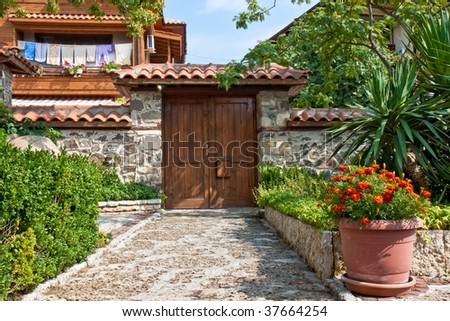 Yard and Entrance of an Old House in Sozopol, Bulgaria.