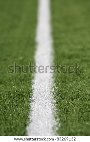 Yard Line of a American Football Field with Shallow Depth of Field