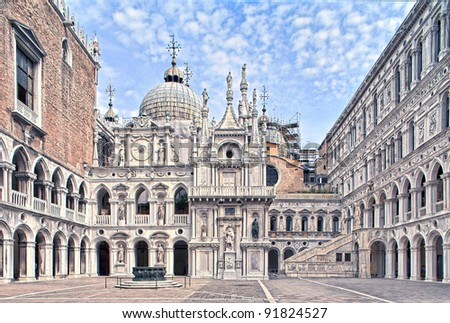Yard of Palazzo Ducale (Doge's Palace) in Venice, Italy