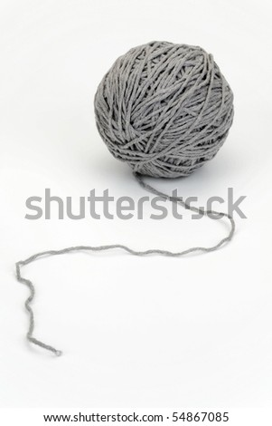 Yarn ball on a white background