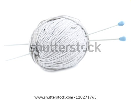 yarn ball with needles on a white background