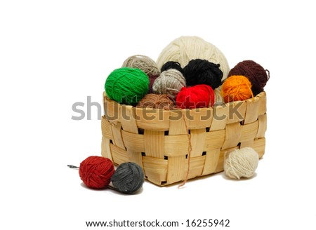 yarn balls in the basket