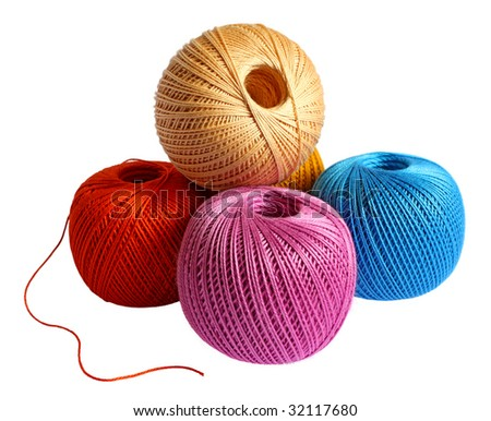 Yarn clews isolated on white background