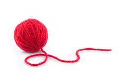 yarn color red on white background.