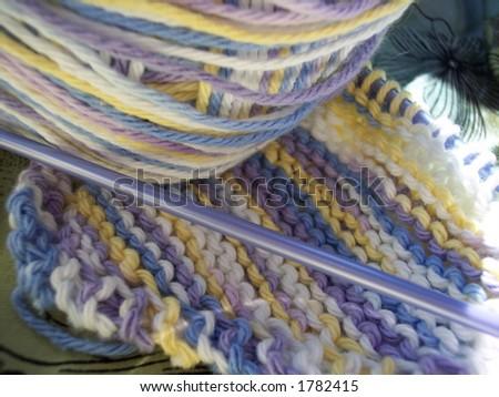Yarn, needle and dish cloth
