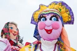 YAROSLAVL, RUSSIA - February 21, 2012: Shrovetide doll. Russian Maslenitsa festival or Pancake week
