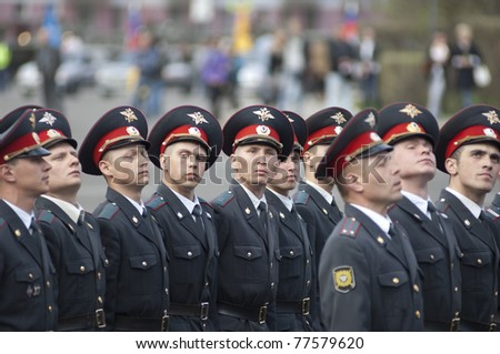 YAROSLAVL, RUSSIA - MAY 7 : Unidentified soldiers of Police troops on rehearsal of Military Parade during 66th anniversary of Victory in Great Patriotic War at Red Square on May 7, 2011 in Yaroslavl, Russia