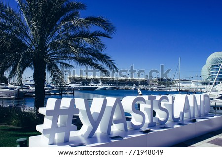 Yas island sign in Yas Marina #771948049