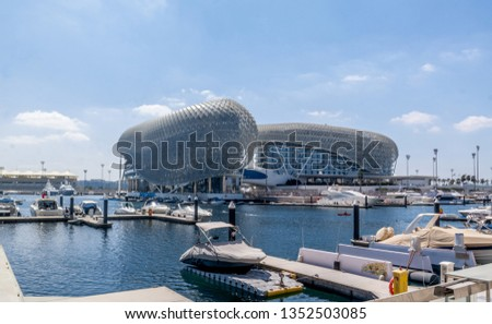 Yas Viceroy Hotel and Yas Marina Circuit, Abu Dhabi. The famous circuit is the venue for the Abu Dhabi Formula One Grand Prix and is built around two hotel buildings - Abu Dhabi, UAE - March 24, 2019 #1352503085