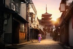 Yasaka Pagoda and Sannen Zaka Street in the Morning, Kyoto Japan
