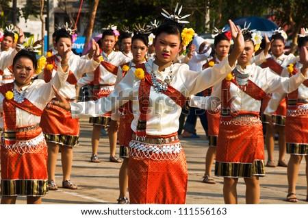 YASOTHON,THAILAND-FEB 17: unidentified Thai children in native dress dance in \
