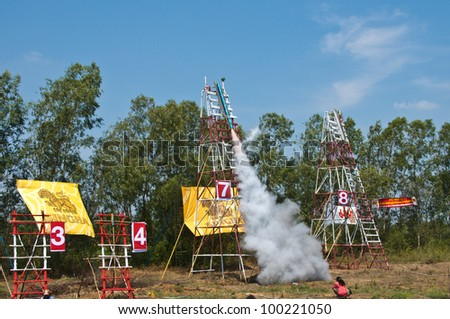 YASOTHORN,THAI-MAY 5:Traditional rockets up the sky in Rocket festival 'Boon Bang Fai' The celebration for plentiful rains during the rice plant season,on May 5,2010 Yasothorn,Thailand.
