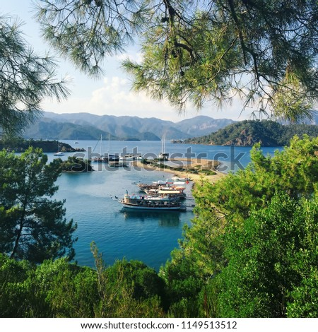 Yassıcalar is one of the many small islands located around a famous summer destination in Turkey called Gocek where tourists can take daily boat tours and visit as the last stop of the tour.