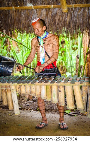YASUNI, ECUADOR - JAN 4, 2015:  Unidentified Ecuadorian indian makes music. Indigenous indians  are protected by COICA (Coordinator of Indigenous Organizations of the Amazon River Basin)