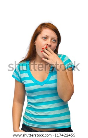 Yawning woman isolated on white background