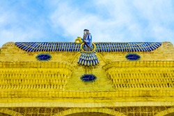 Yazd Atashkadeh Atash Behram Zoroastrian Temple View Point of Blue Colored Religious Zoroaster Symbol Holding a Circle