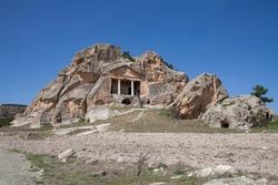 Yazilikaya , Midas Monument , detail .Landscape view of Phrygia valley in the middle of Kutahya, Eskisehir, Afyon in Turkey.