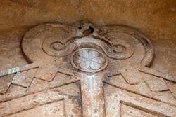Yazilikaya , Midas Monument,  detail . Phrygia valley in the middle of Kutahya, Eskisehir, Afyon in Turkey.