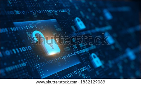 yber Security and safety information, personal data concept. Digital Padlocks on abstract technology background. 3d rendering