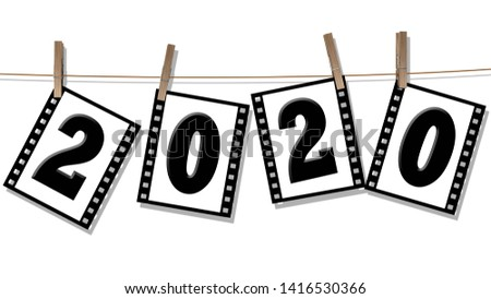 Year change 2020 - numbers on filmstrips hang on a leash - isolated on white background - 3D illustration
