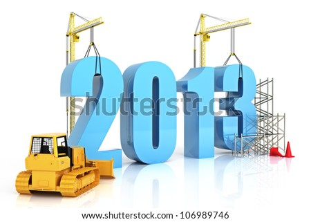 Year 2013 growth, building, improvement in business or in general concept in the year 2013, on a white background .