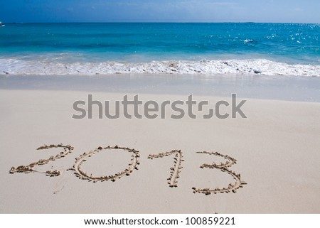 Year 2013 hand written on the white sand in front of the sea #100859221