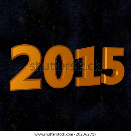 Year 2015 in golden numbers, stellar background #202362919