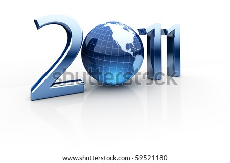 Year 2011 made up of numbers and globe as zero