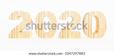Year 2020 made with wood on a white background. 3d Rendering.