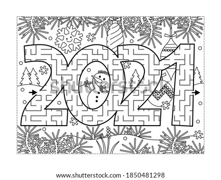 Year 2021 maze game or labyrinth and coloring page with winter scene, baubles and snowman. Answer included.