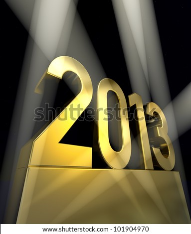 Year 2013 Number 2013 on a golden pedestal at a black background